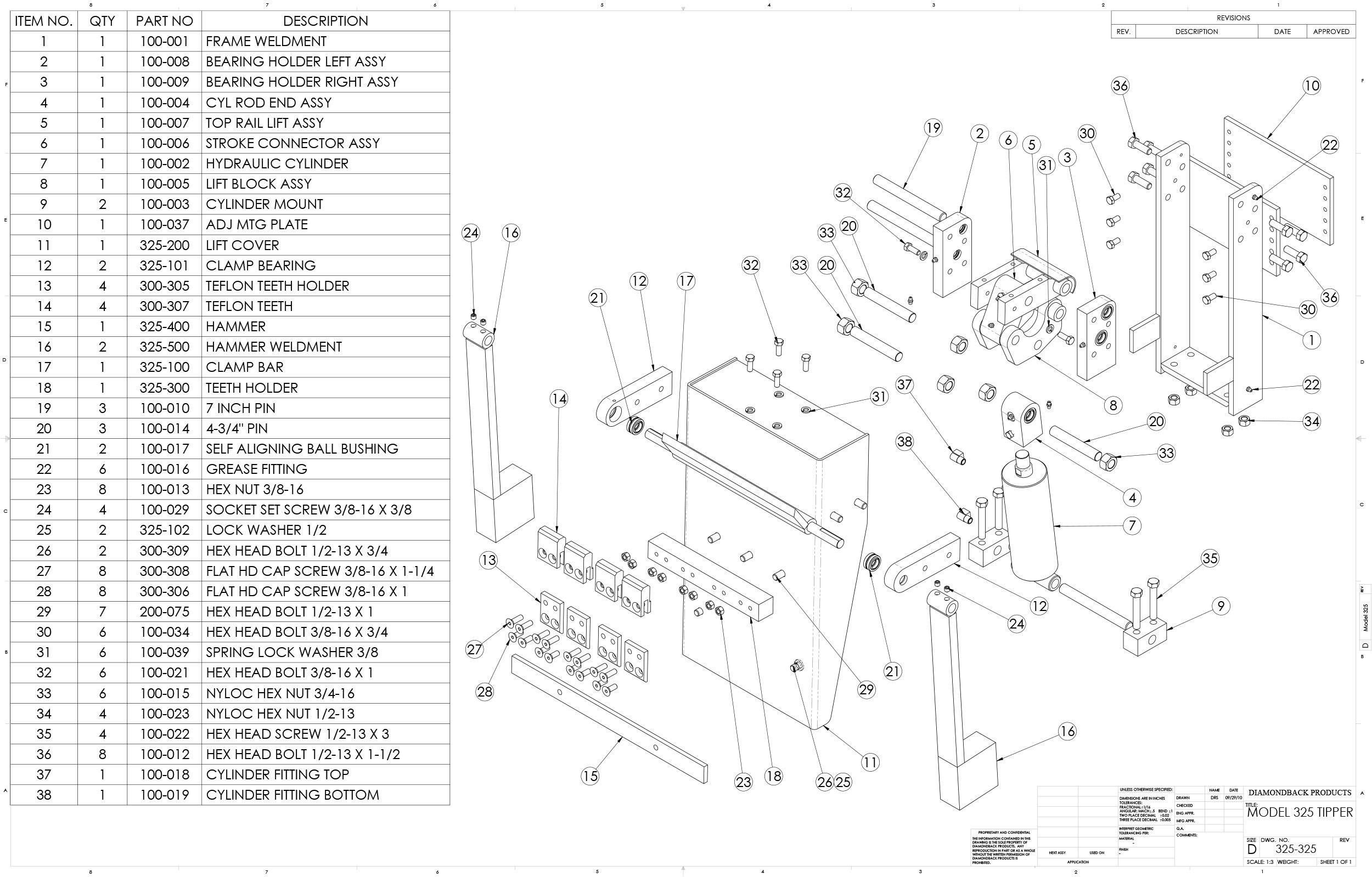 Diamondback Model 325 Cart Tipper Parts