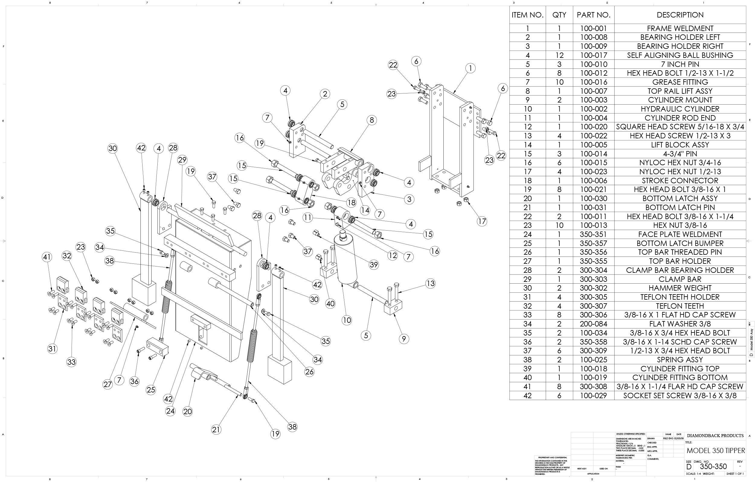 Diamondback Model 350 Cart Tipper Parts